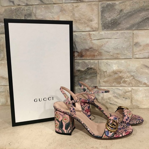 1ecf692fc09 Gucci Marmont Gold Floral Pink Rose Ankle Strap